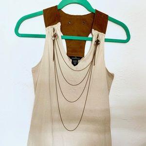 MODA International Suede Leather & Cotton Tank